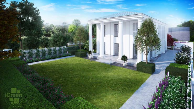 Wizualizacja wnętrza ogrodowego.: styl , w kategorii  zaprojektowany przez IGREEN Architektura Krajobrazu i Miejskie Formy