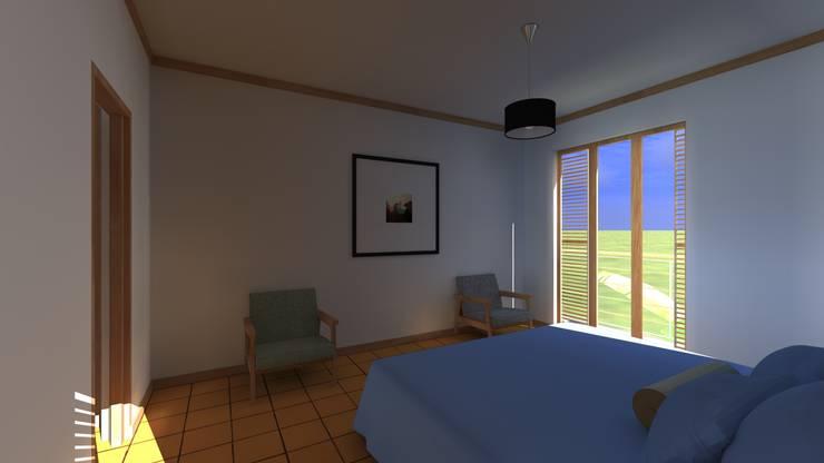 mast bedroom:   por JOÃO SANTIAGO - SERVIÇOS DE ARQUITECTURA