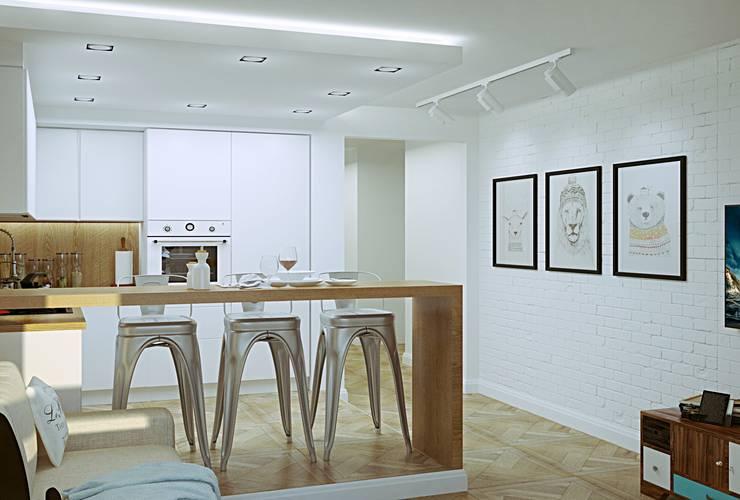 Гостиная-кухня лофт: Кухни в . Автор – MEL design