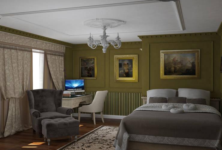 Классический стиль в однокомнатной квартире: Спальни в . Автор – MEL design