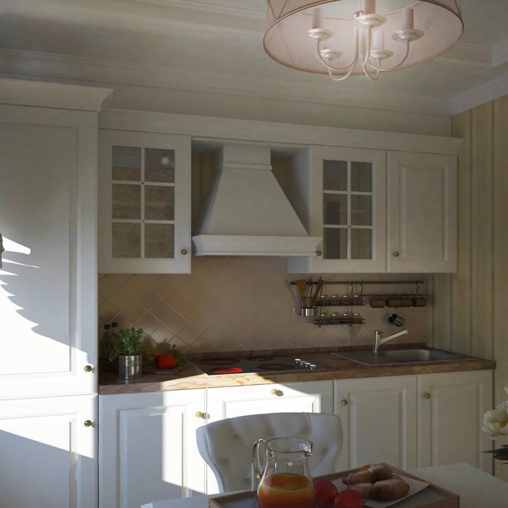 Классический стиль в однокомнатной квартире: Кухни в . Автор – MEL design