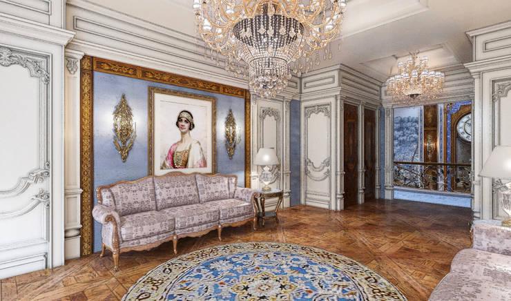 Дом в Барвихе: Гостиная в . Автор – Domus Optima,