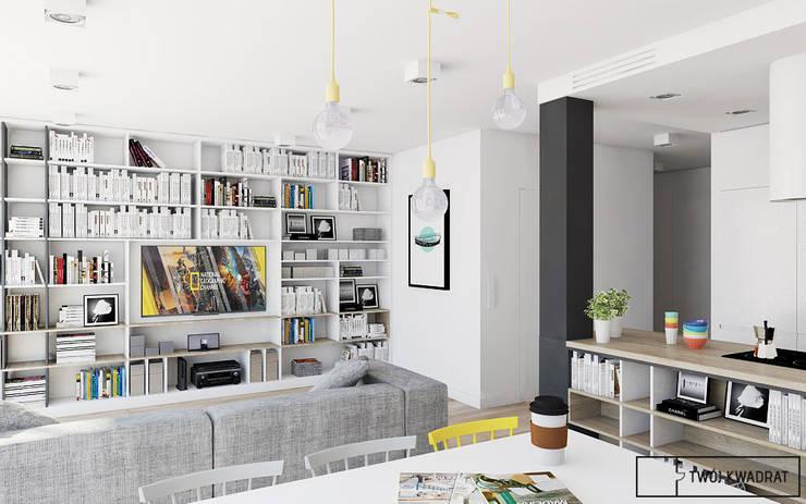 Mieszkanie na warszawskiej Pradze : styl , w kategorii Salon zaprojektowany przez Twój Kwadrat,Nowoczesny