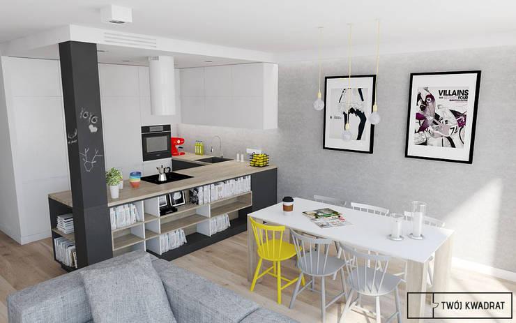 Mieszkanie na warszawskiej Pradze : styl , w kategorii Kuchnia zaprojektowany przez Twój Kwadrat,Nowoczesny