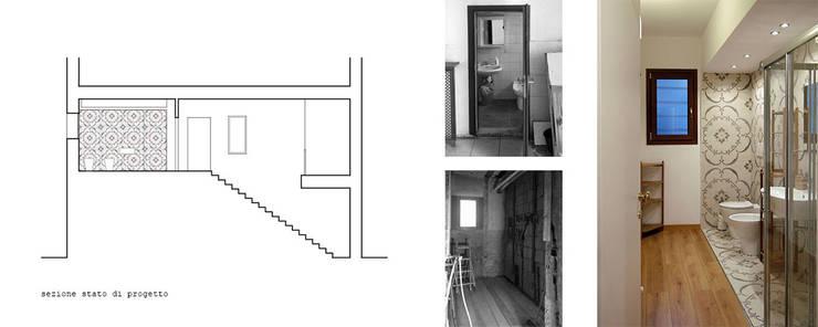 Sezione trasversale e viste interne servizi: Bagno in stile in stile Minimalista di 365Architetti