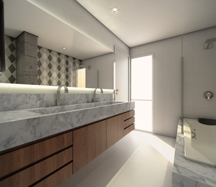 Banho suíte:   por Almeida Arquitetos