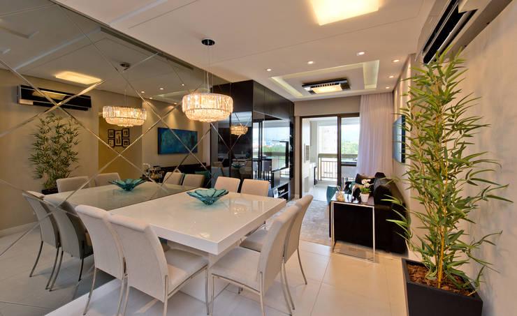 Apartamento Completo Itacorubi – M.N.B: Salas de jantar modernas por Kris Bristot Arquitetura