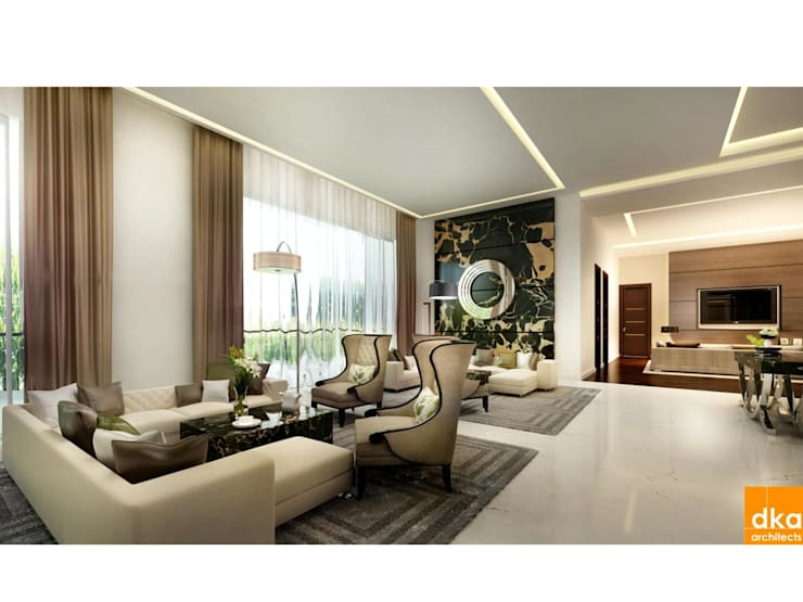 Pent house:  Living room by Dutta Kannan architects
