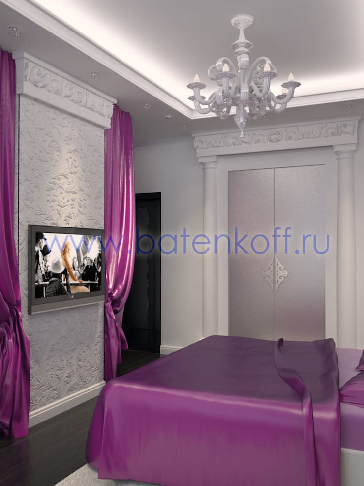 Дизайн проект интерьера спальни в сиренево фиолетовых тонах: Спальни в . Автор – Дизайн студия 'Дизайнер интерьера № 1'