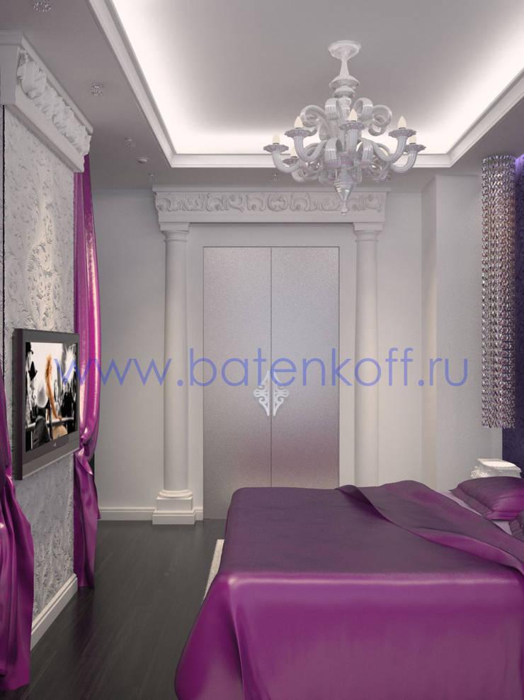 Дизайн проект интерьера спальни в сиренево фиолетовых тонах: Гардеробные в . Автор – Дизайн студия 'Дизайнер интерьера № 1'