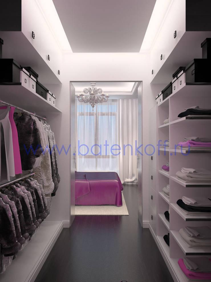 Дизайн проект интерьера гардероба в сиренево фиолетовых тонах: Гардеробные в . Автор – Дизайн студия 'Дизайнер интерьера № 1'