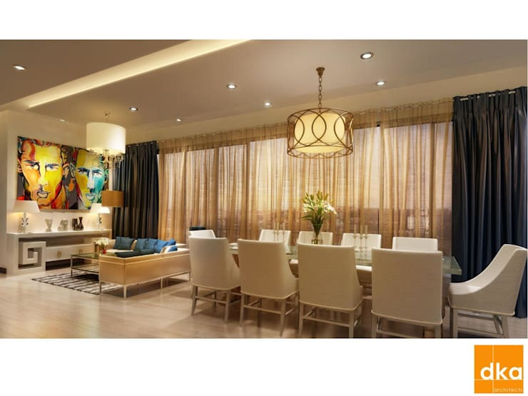 Mockup 3 BED Luxury Apartment:  Dining room by Dutta Kannan architects
