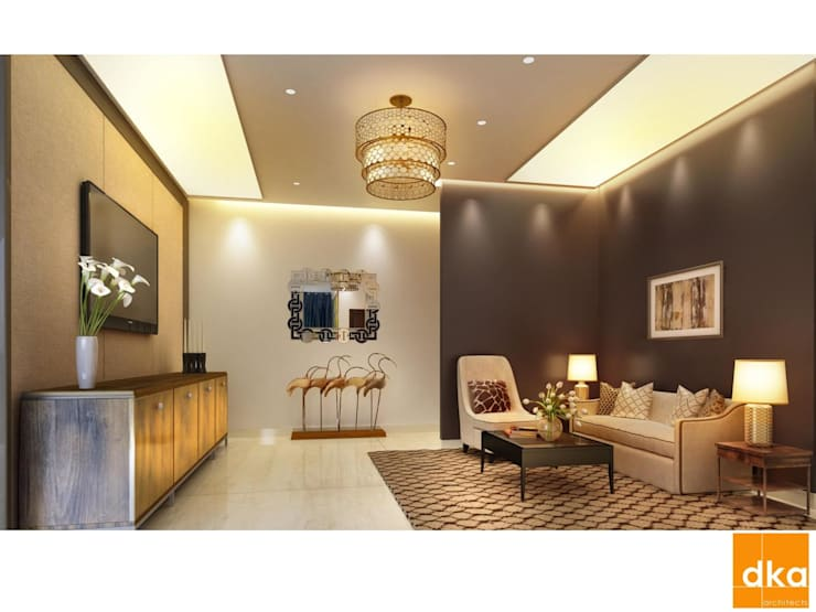 Mockup 3 BED Luxury Apartment:  Living room by Dutta Kannan architects
