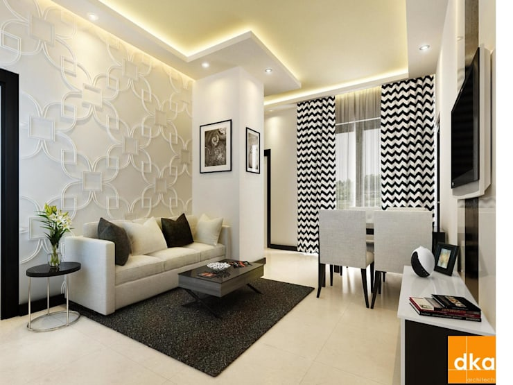 Mockup 3 BED Budget Apartment:  Living room by Dutta Kannan architects