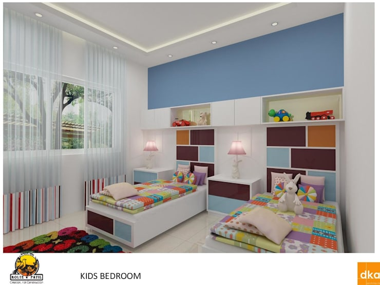 Kolte Patil Mirabillis apartment:  Nursery/kid's room by Dutta Kannan architects