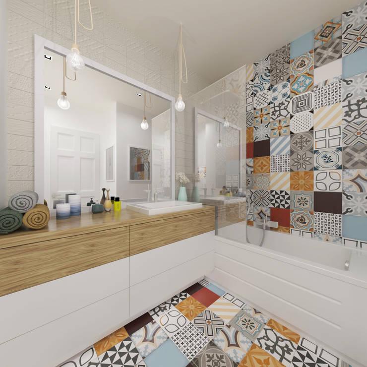 Łazienka z kolorowymi płytkami: styl , w kategorii Łazienka zaprojektowany przez Pracownia Aranżacji Wnętrz 'O-Kreślarnia',Skandynawski