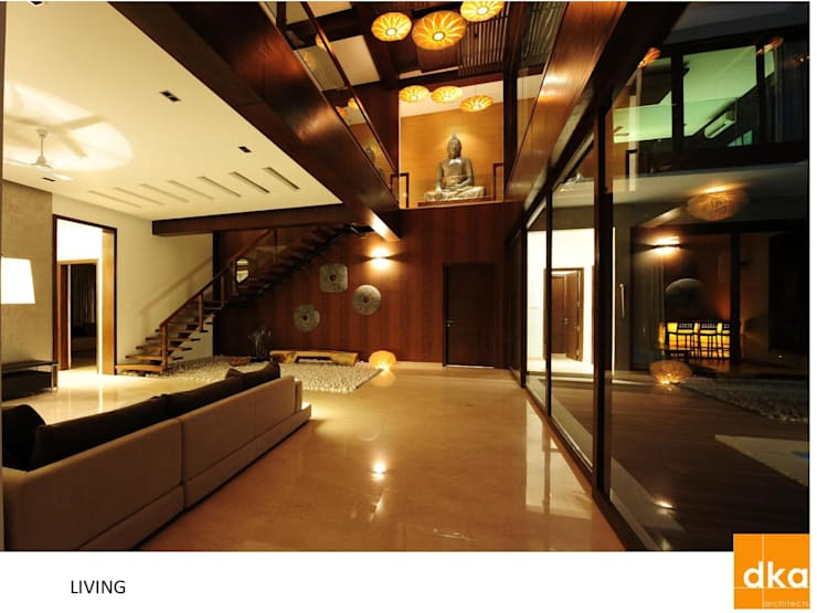 PMR Residence:  Living room by Dutta Kannan architects