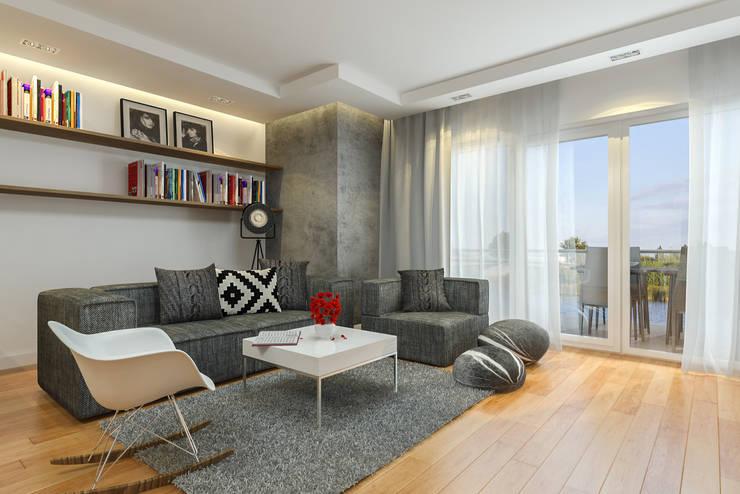 Nowoczesny apartament: styl , w kategorii Salon zaprojektowany przez Pracownia Aranżacji Wnętrz 'O-Kreślarnia'