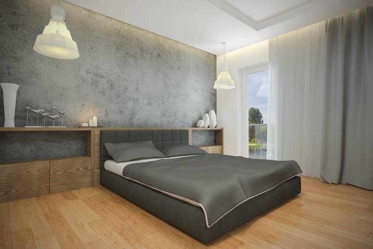 Nowoczesny apartament: styl , w kategorii Sypialnia zaprojektowany przez Pracownia Aranżacji Wnętrz 'O-Kreślarnia'
