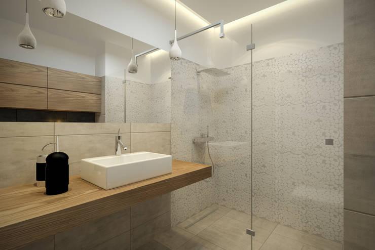 Nowoczesny apartament: styl , w kategorii Łazienka zaprojektowany przez Pracownia Aranżacji Wnętrz 'O-Kreślarnia'
