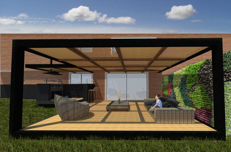 PERSPECTIVA EXTERIOR DESDE FRENTE:  de estilo  por ALSE Taller de Arquitectura y Diseño
