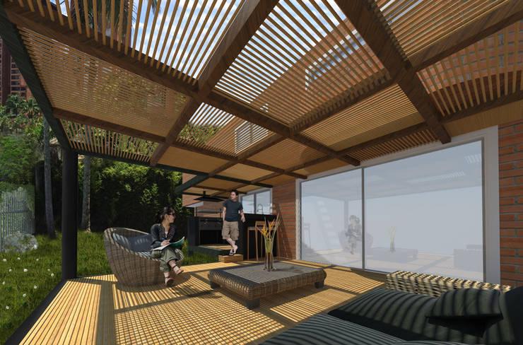 PERSPECTIVA INTERIOR DESDE MUEBLES:  de estilo  por ALSE Taller de Arquitectura y Diseño