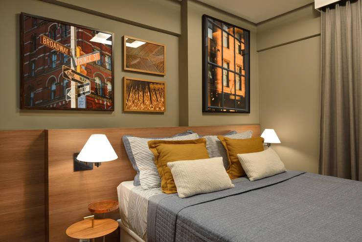 Apartamento pequeno – 43m²: Quartos  por Moreno e Brazileiro | Arquitetos