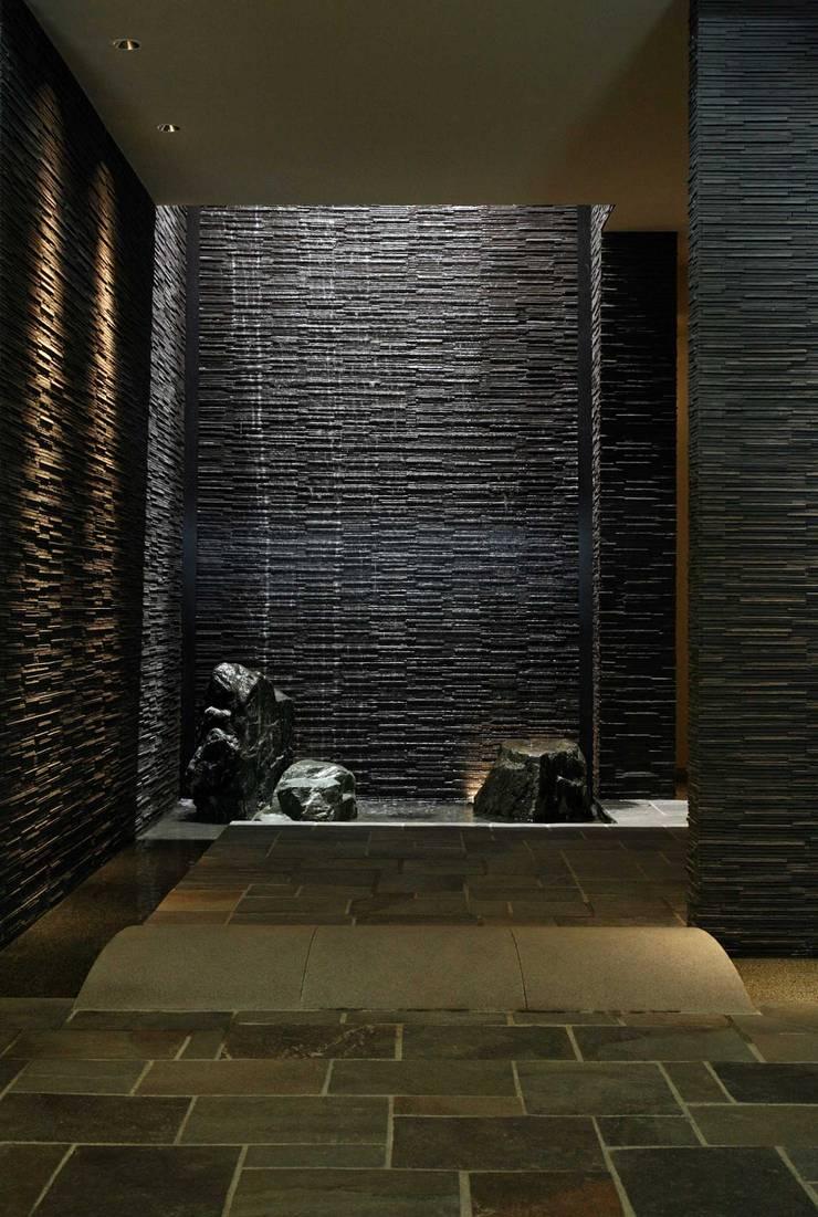 滝と水盤のある暮らし~レアージュ Rarage: PROSPERDESIGN ARCHITECT OFFICE/プロスパーデザインが手掛けた廊下 & 玄関です。,オリジナル