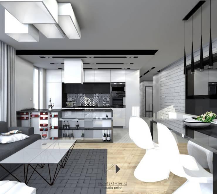 Mieszaknie 80m2: styl , w kategorii Salon zaprojektowany przez Architekt wnętrz Klaudia Pniak