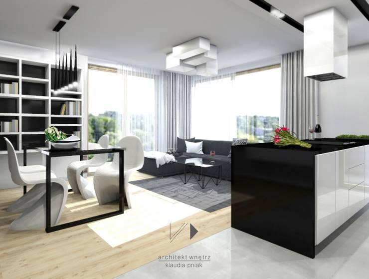 Mieszaknie 80m2: styl , w kategorii Salon zaprojektowany przez Architekt wnętrz Klaudia Pniak,Nowoczesny