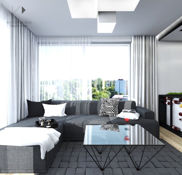 Mieszaknie 80m2: styl , w kategorii Pokój multimedialny zaprojektowany przez Architekt wnętrz Klaudia Pniak,Nowoczesny