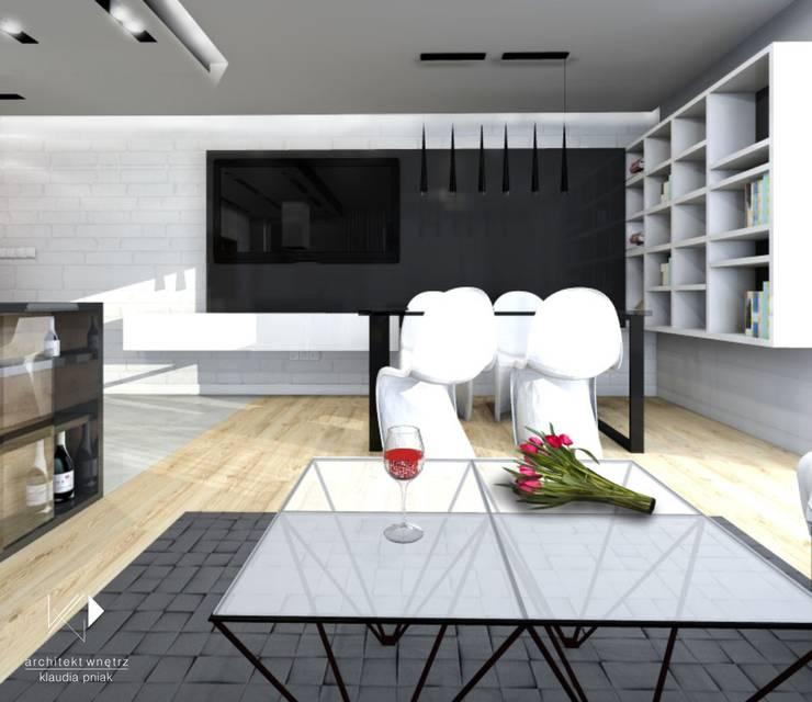 Mieszaknie 80m2: styl , w kategorii Jadalnia zaprojektowany przez Architekt wnętrz Klaudia Pniak,Nowoczesny