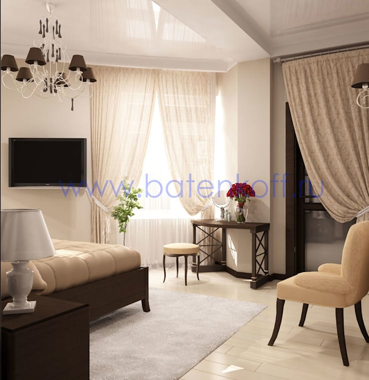Дизайн проект спальни в квартире ЖК Кольцо Екаткрины : Спальни в . Автор – Дизайн студия 'Дизайнер интерьера № 1'
