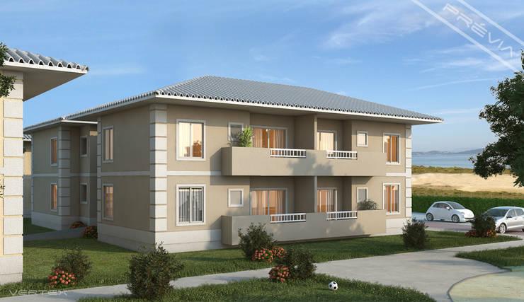 Fachada dos blocos de apartaemntos.: Casas  por Studio HG Arquitetura,