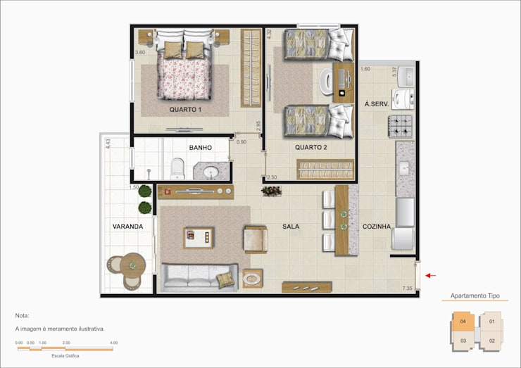 Planta baixa do apartamento padrão.: Salas de estar  por Studio HG Arquitetura,