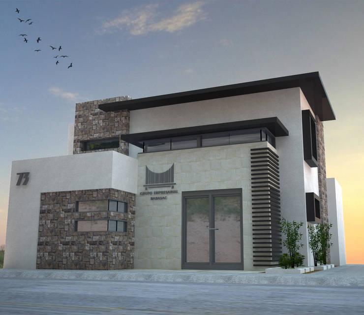 VISTA DE FACHADA PRINCIPAL: Estudios y oficinas de estilo  por Acrópolis Arquitectura