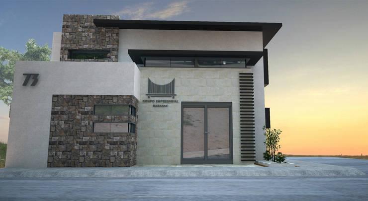 VISTA FACHADA FRONTAL: Estudios y oficinas de estilo  por Acrópolis Arquitectura