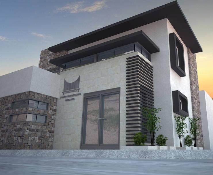 ACCESO Y DETALLES DE FACHADA: Estudios y oficinas de estilo  por Acrópolis Arquitectura