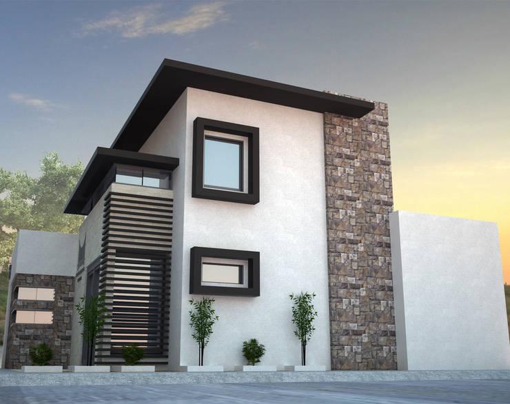 VISTA DE FACHADA LATERAL: Estudios y oficinas de estilo  por Acrópolis Arquitectura