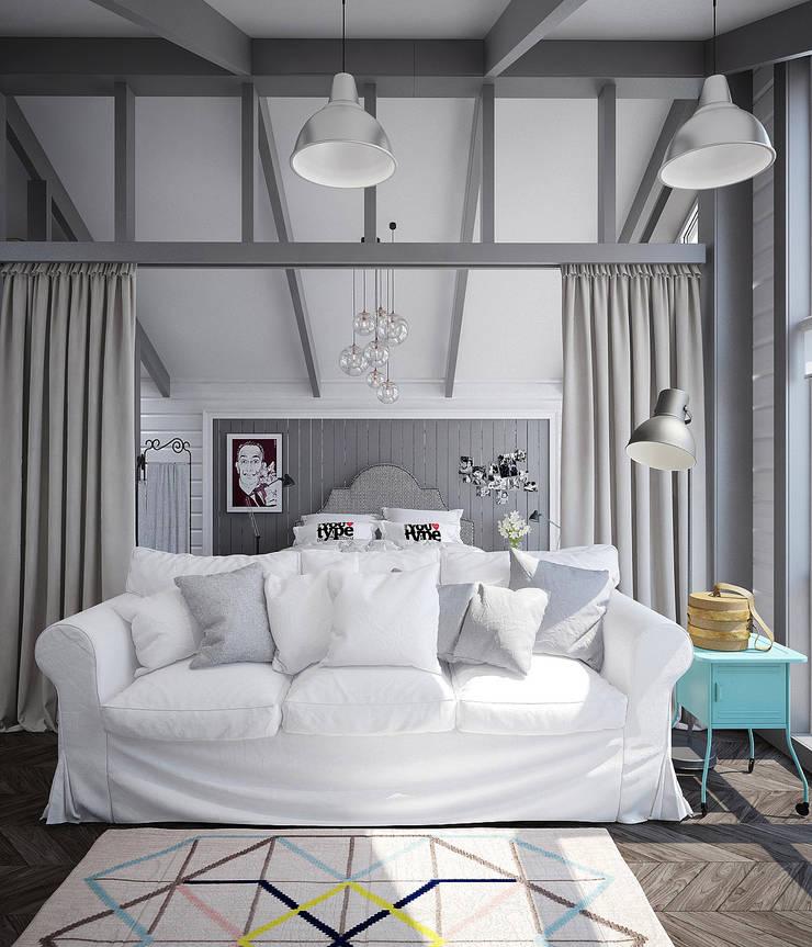 Мансарда для молодой девушки в скандинавском стиле .: Спальни в . Автор – Pavel Alekseev