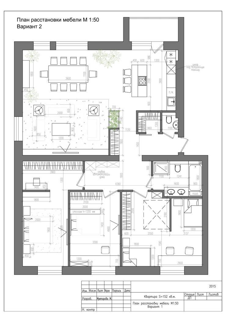 Планировка вариант 2: Гостиная в . Автор – Архитектор-дизайнер Марина Мухтарова