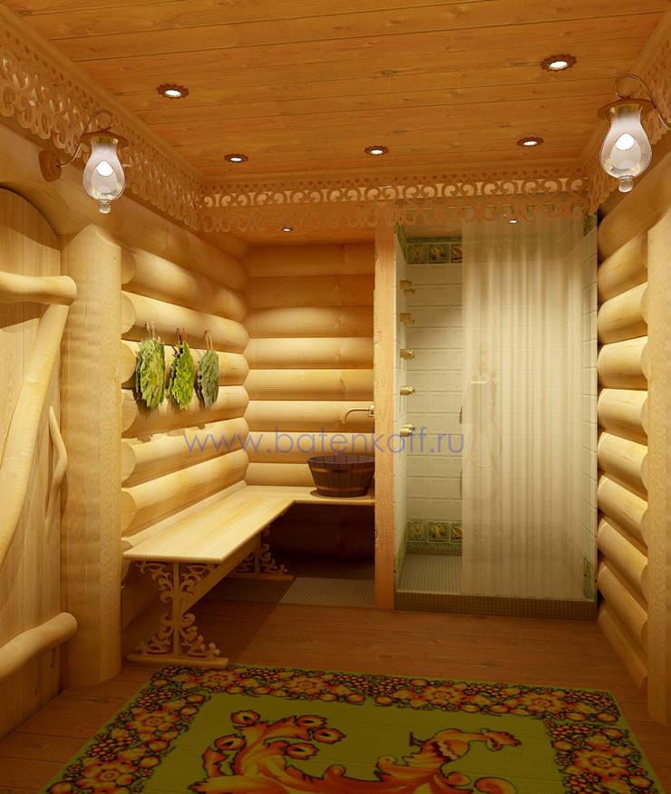 Дизайн бани из бревна в русском народном стиле: Ванные комнаты в . Автор – Дизайн студия 'Дизайнер интерьера № 1'