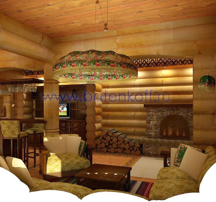 Дизайн проект бани из бревна в русском народном стиле: Спа в . Автор – Дизайн студия 'Дизайнер интерьера № 1'