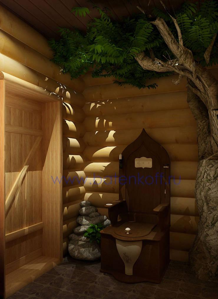 Дизайн интерьера бани из бревна в русском народном стиле: Ванные комнаты в . Автор – Дизайн студия 'Дизайнер интерьера № 1'