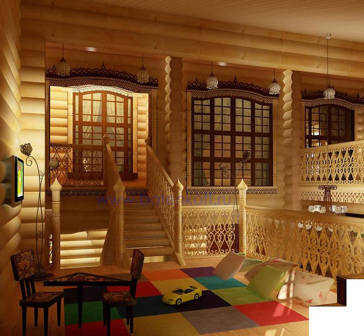 Дизайн интерьера бассейна в доме из цилиндрованного бревна: Детские комнаты в . Автор – Дизайн студия 'Дизайнер интерьера № 1'