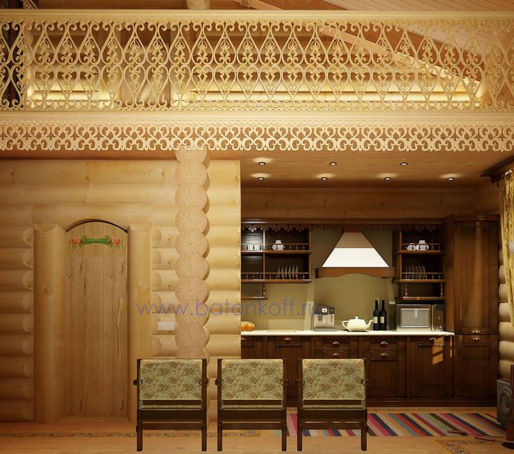 Дизайн интерьера бассейна в доме из цилиндрованного бревна: Кухни в . Автор – Дизайн студия 'Дизайнер интерьера № 1'