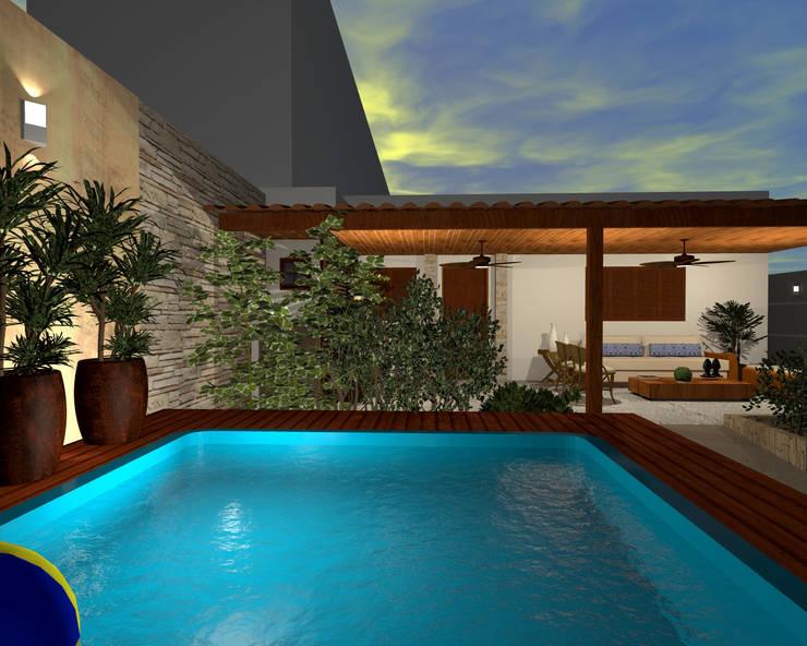 Espaço Gourmet, piscina e fachada – Residência RJ: Piscinas  por Konverto Interiores + Arquitetura