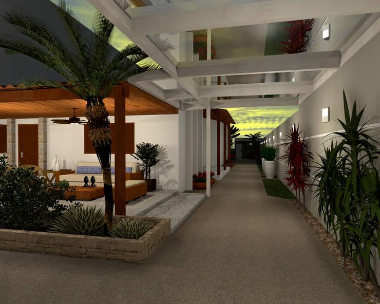 Espaço Gourmet, piscina e fachada – Residência RJ: Jardins  por Konverto Interiores + Arquitetura