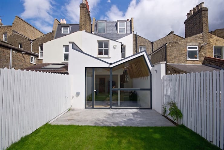 A view of the extension in context: modern Living room by Forrester Architects