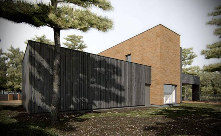 DOM W LESIE, PL+: styl , w kategorii Domy zaprojektowany przez PL+sp. z o.o.